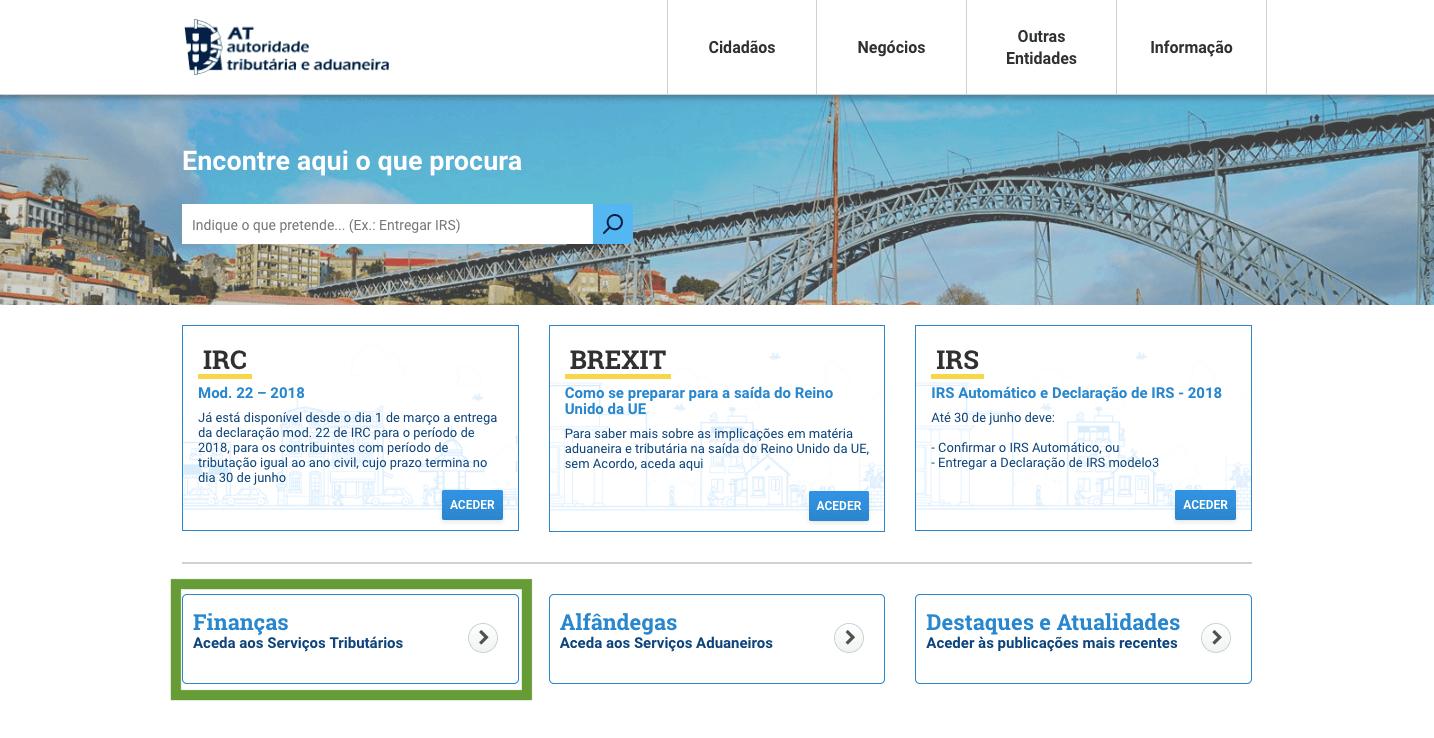 Aceder ao Portal das Finanças e escolher